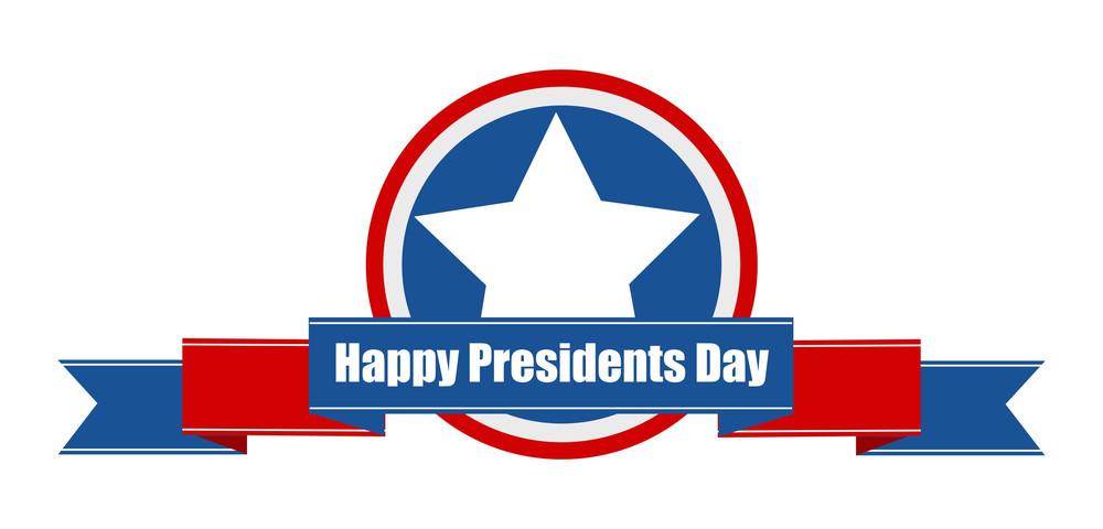 Happy Presidents Day Ribbon Vector