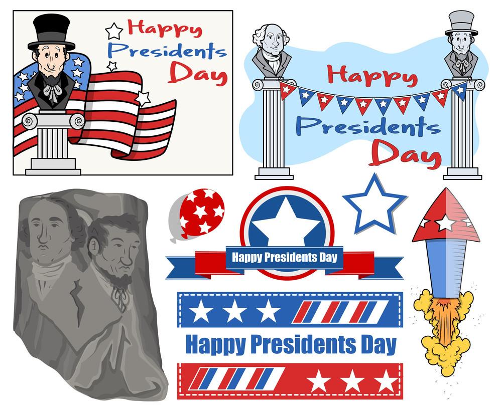 Happy Presidents Day Usa National Theme Vector Set