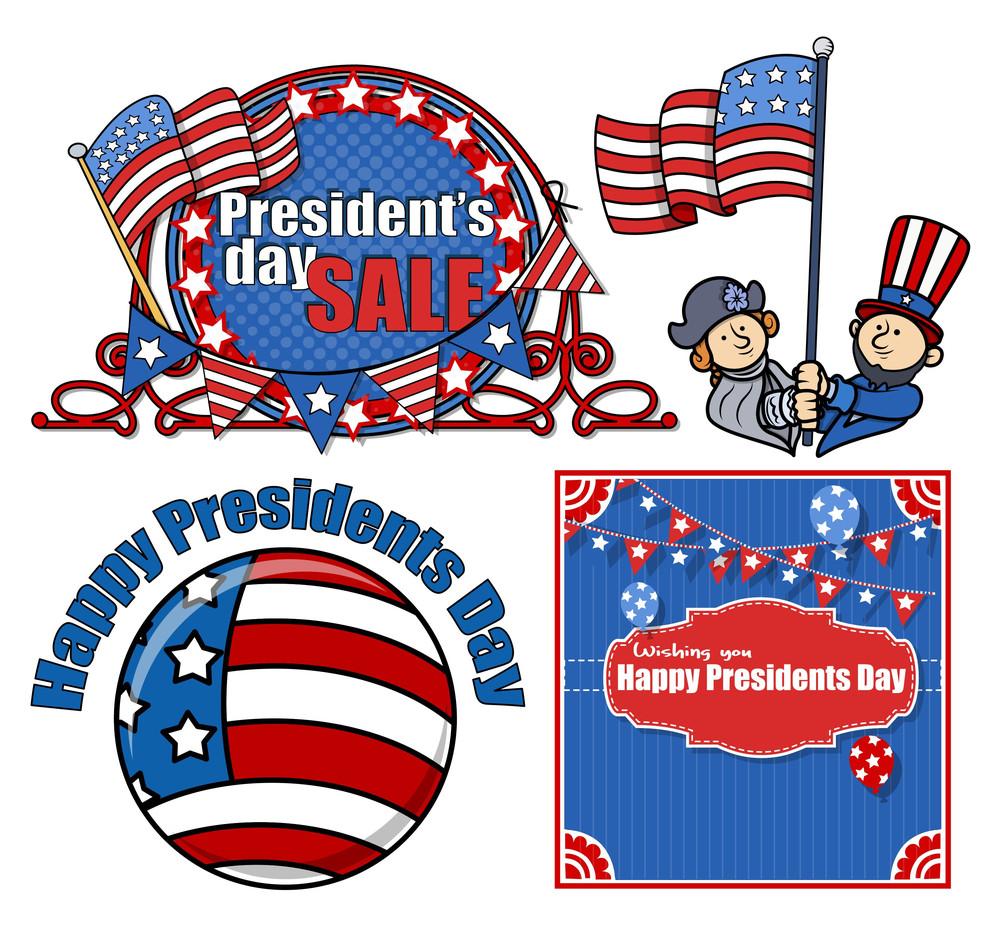 Happy Presidents Day Vector Set