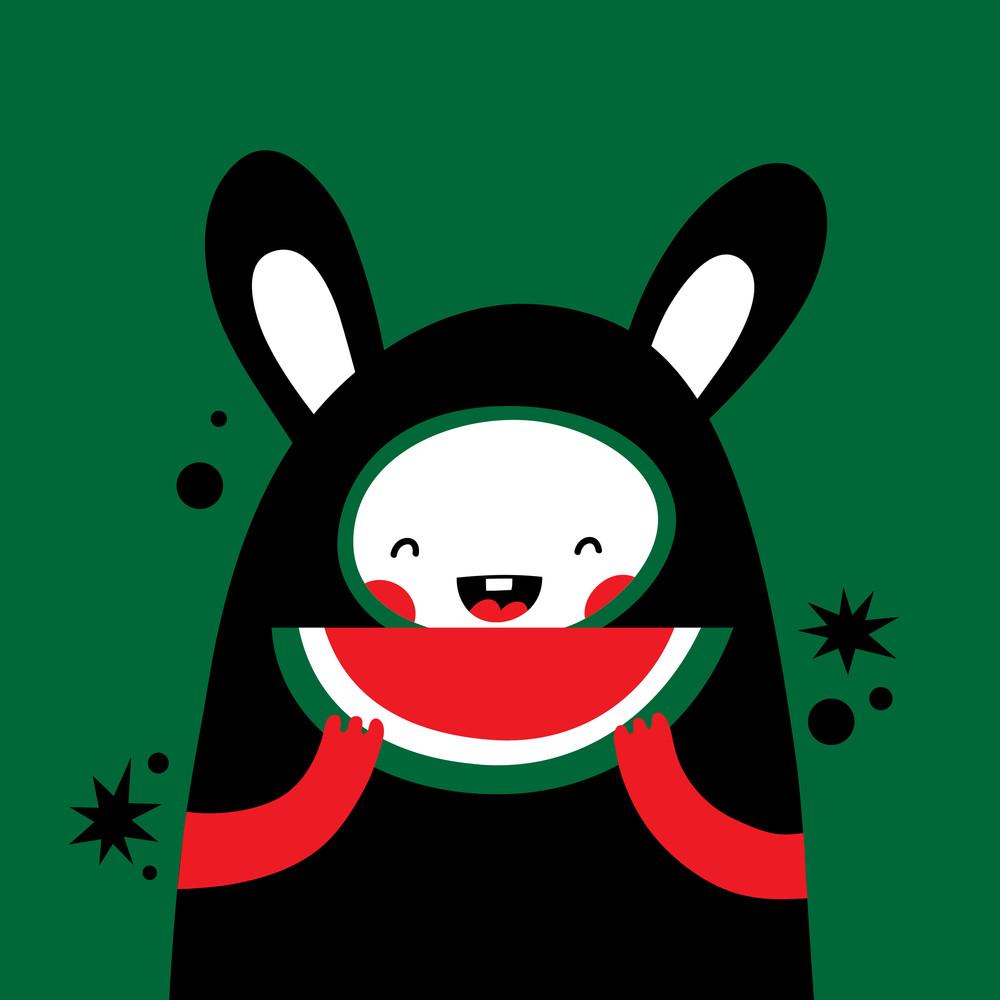 Happy Rabbit Eating Watermelon