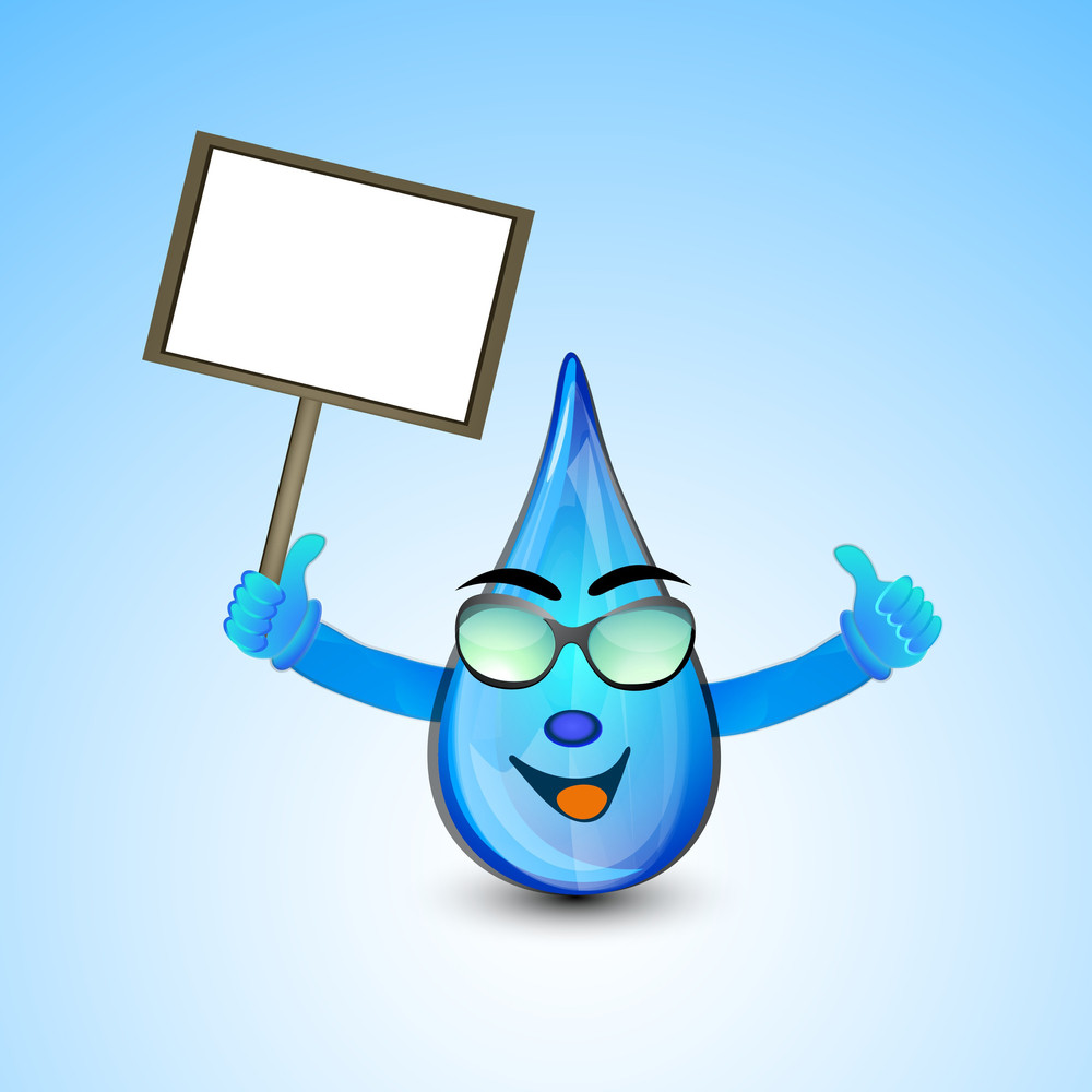 Happy Rain Drop Holding Blank Banner For Your Message