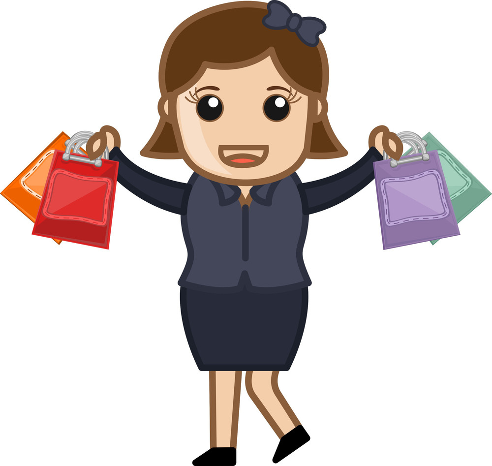Happy Shopping - Cartoon Vector