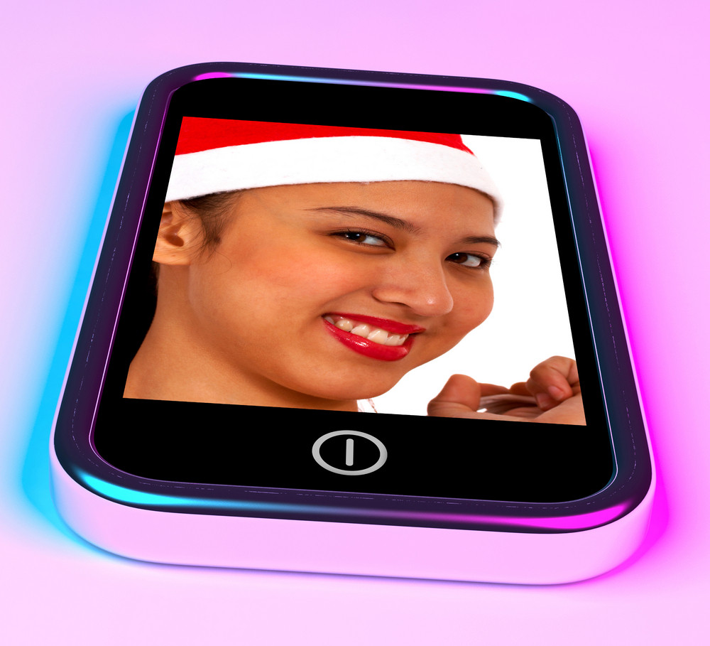 Happy Smiling Asian Girl On Smartphone