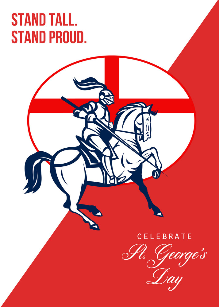 Happy St George Day Stand Tall Stand Proud Retro Poster