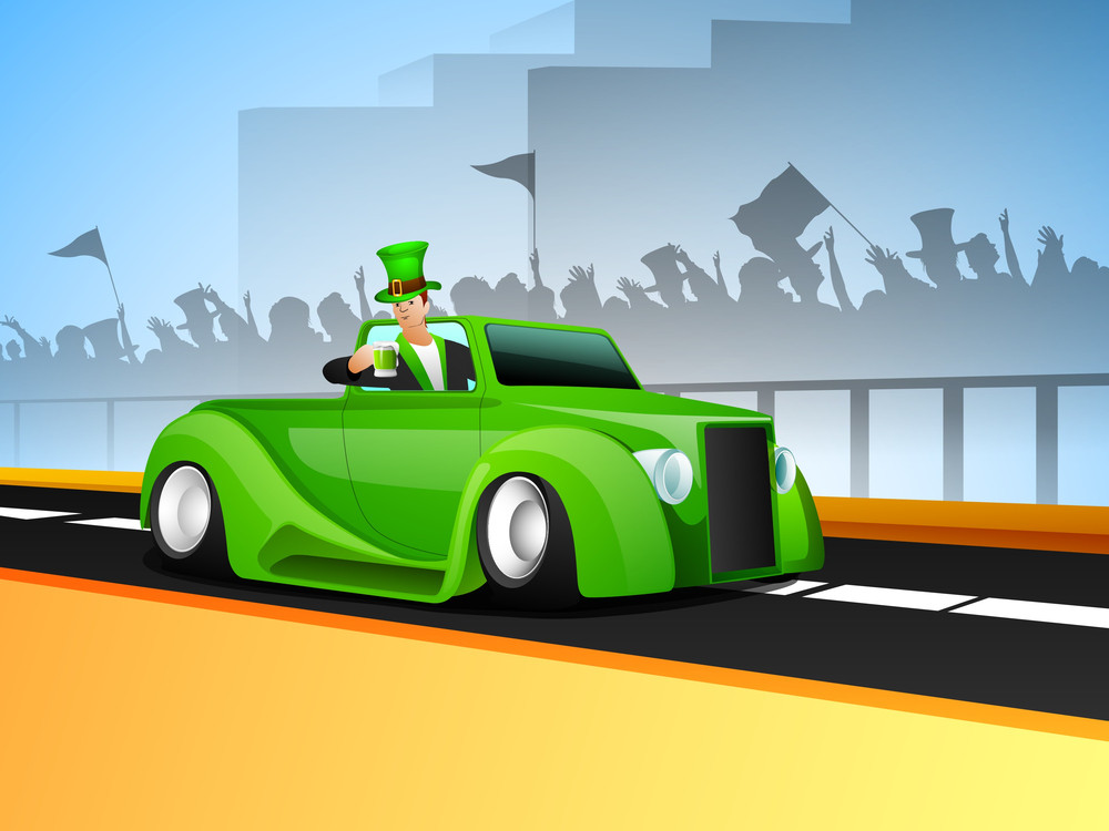Happy St. Patrciks Day Concept With Leprechaun Holding Beer Mug Sitting In A Car On Silhouette Of People Enjoying Background.