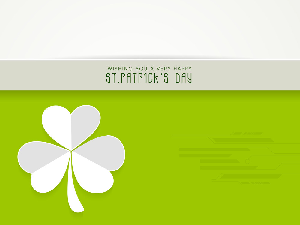 Happy St. Patrick's Dat Celebration Background With White Clover Leaf On Creative Abstract Background.