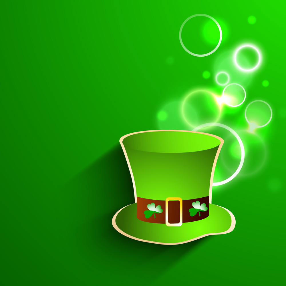 Happy St. Patricks Day Background With Beautiful Boots On Shiny Blue Background