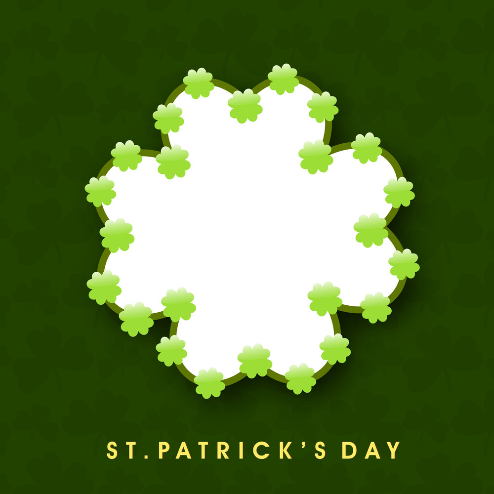 Happy St. Patricks Day Background With Beautiful Clover Leaves And Spce For Your Message On Green Background.