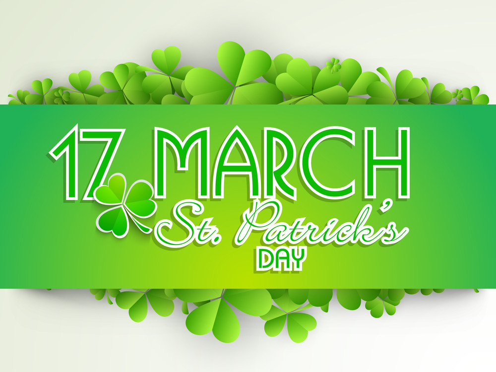 Happy St. Patrick's Day Background With Beautiful Clover Leaves On Blue Background.