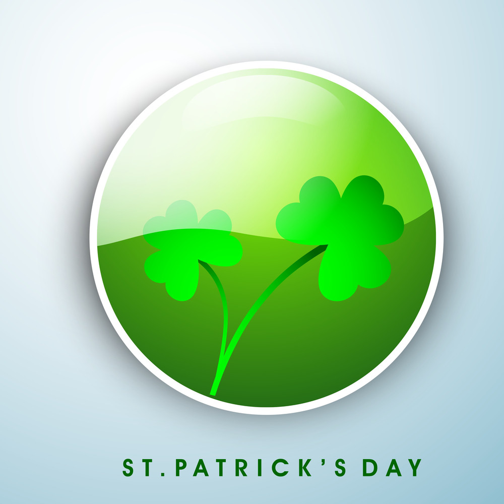 Happy St. Patricks Day Background With Beer Mug And Clover Leaves On Rays Green Background