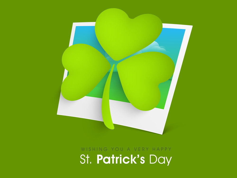 Happy St. Patrick's Day Background With Clover Leaves On Abstract Background.