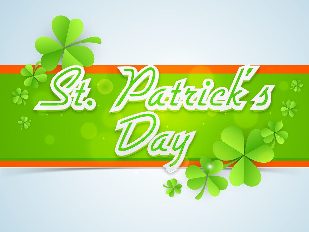 Happy St. Patrick's Day Background With Hanging Clover Leaves And Stylish Text 17th March On Orange Background