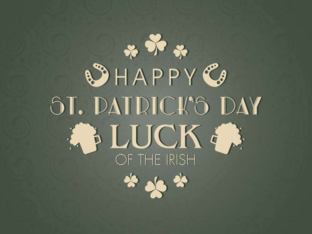 Happy St. Patrick's Day Background With Hanging Stylish Text