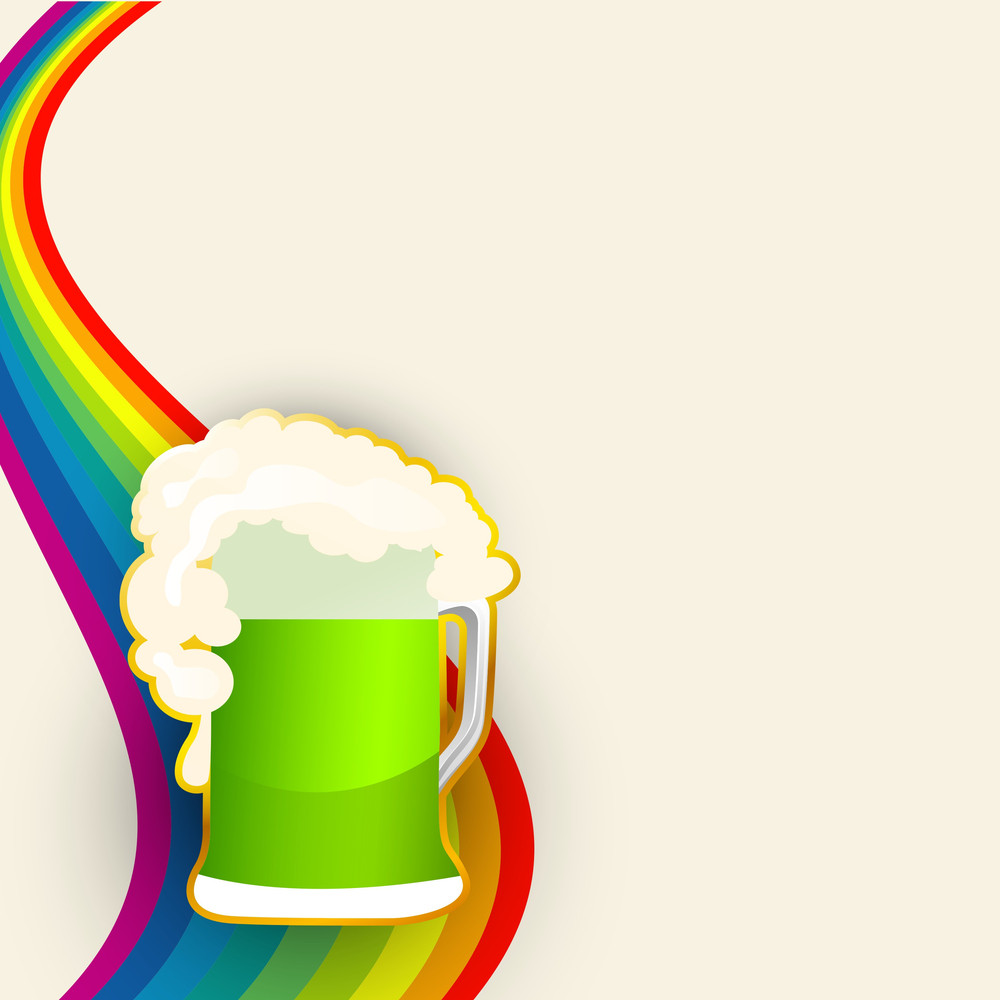 Happy St. Patricks Day Background With Happy Leprechauns Holding Traditional Mud Pot With Full Of Gold Coins On Rainbow Decorated Blue Background.