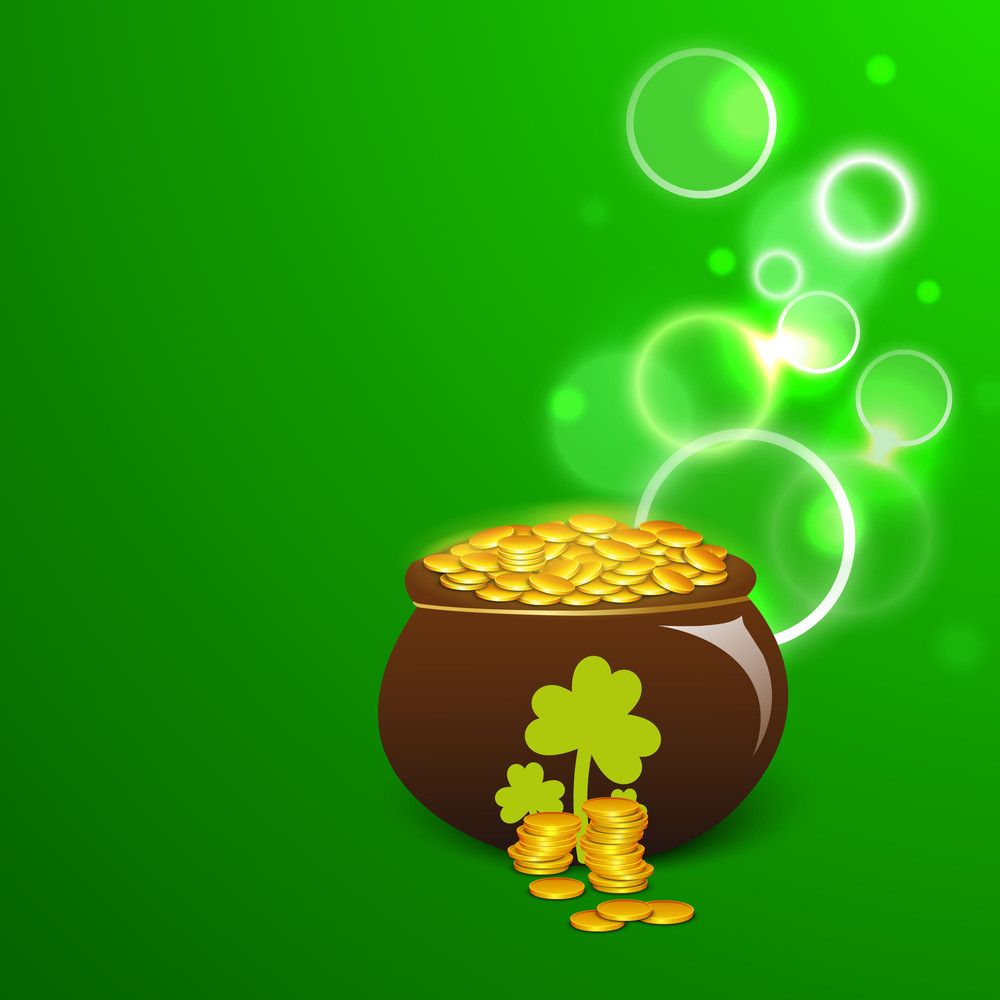 Happy St. Patricks Day Background With Leprechauns Hat And Blank Clover Leaf For Your Message.