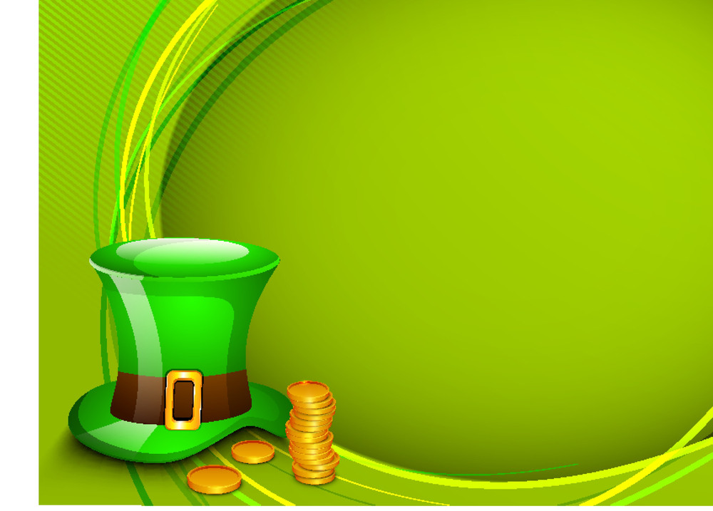Happy St. Patrick's  Day Background With Leprechaun's Hat And Gold Coins On Green Wave Background.