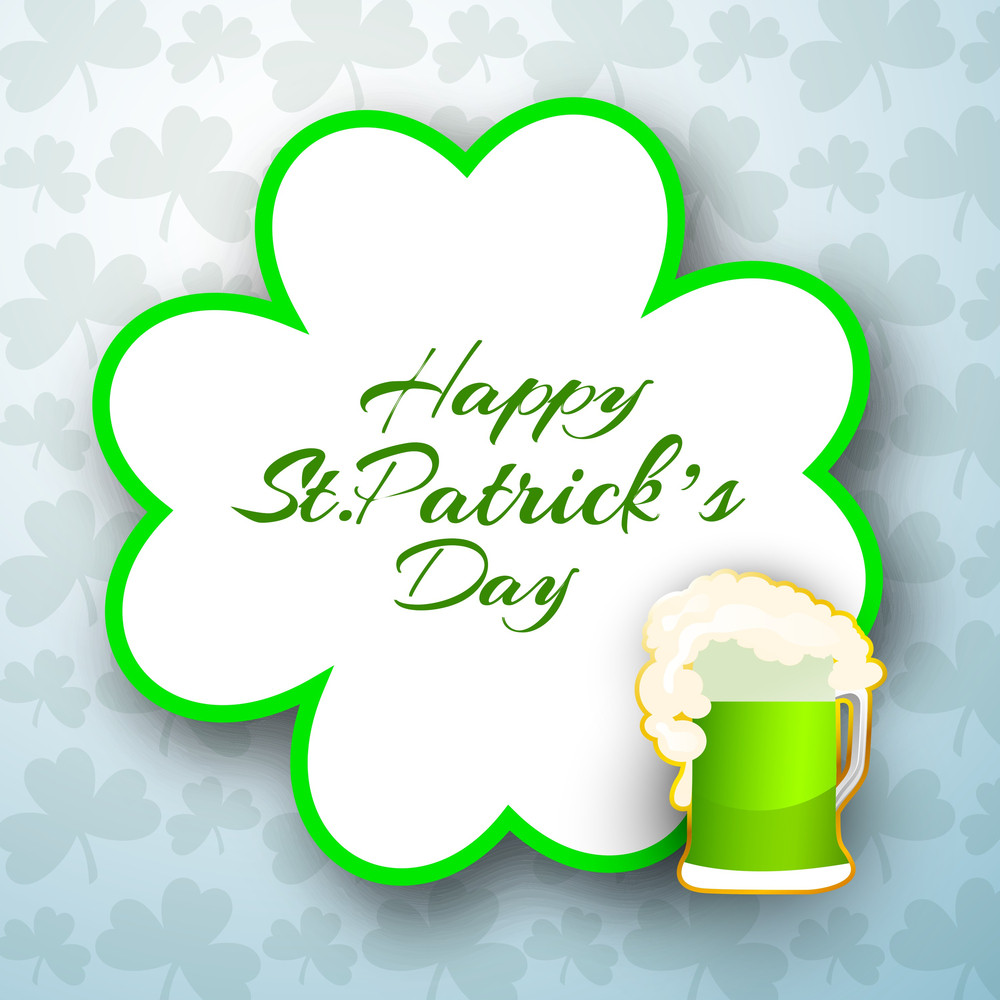 Happy St. Patricks Day Background With Leprechauns Hat On Shiny Blue Background