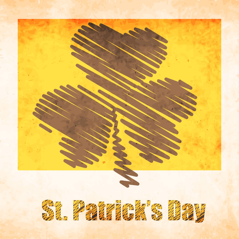 Happy St. Patrick's Day Background With Red Clover Leaf On Vintage Green Background