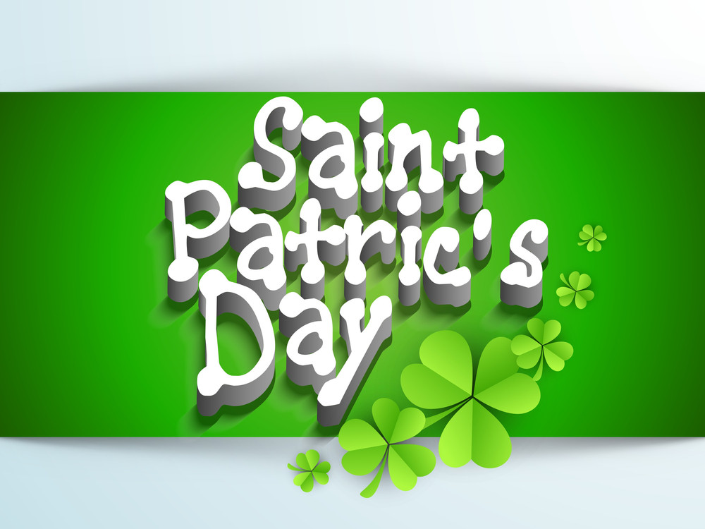 Happy St. Patrick's Day Background With Shiny Clover Leaf