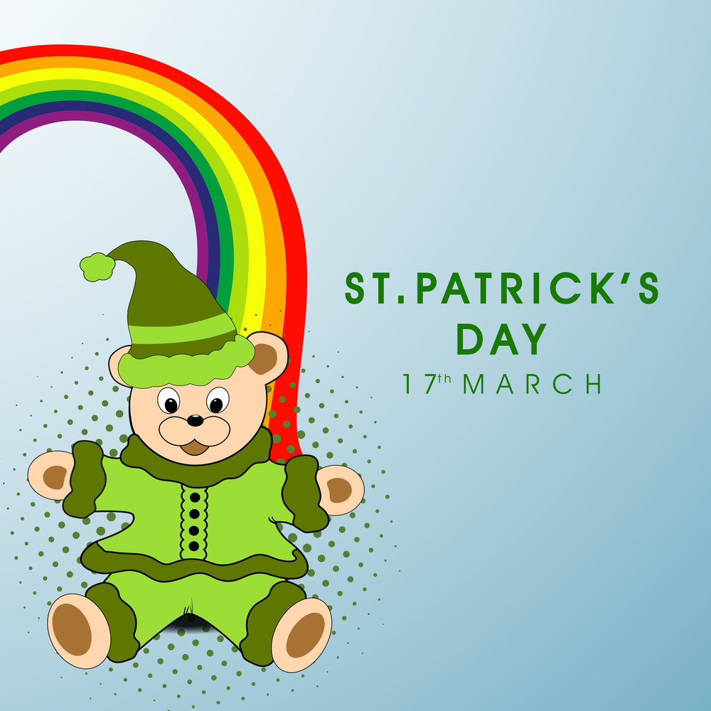 Happy St. Patricks Day Background With Shiny Clover Leaves On Blue Background