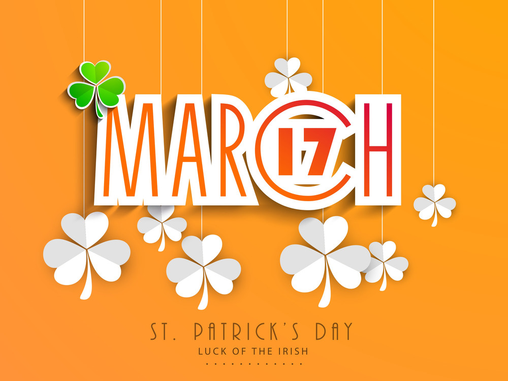Happy St. Patrick's Day Background With Stylish Clover Leaf On Vintage Background