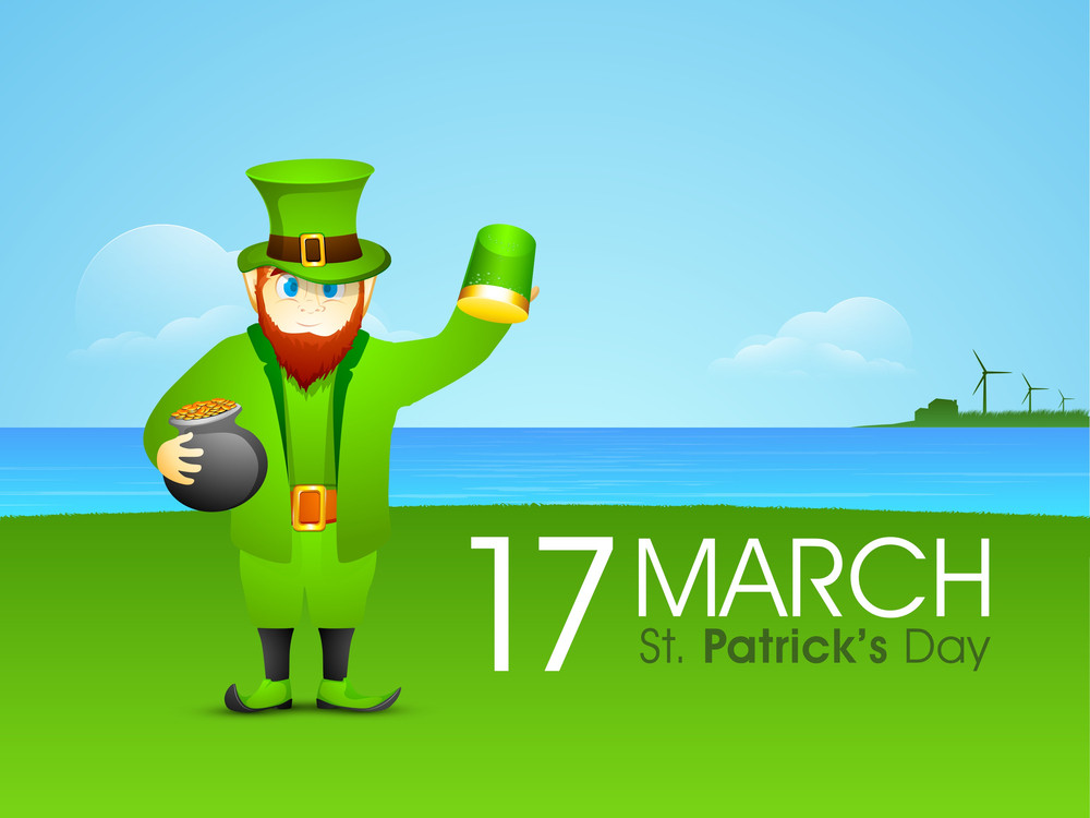 Happy St. Patrick's Day Background With Stylish Text And Clover Leaves On Green.