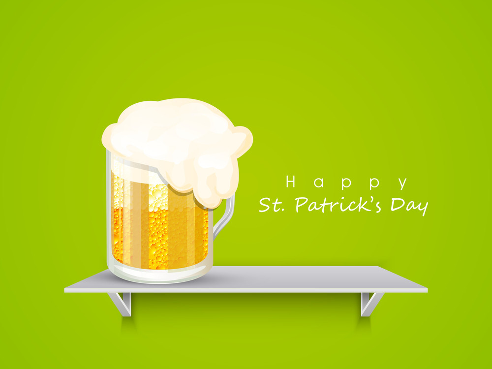 Happy St. Patrick's Day Background With Stylish Text On Clover Leaves Decorated Blue Background.