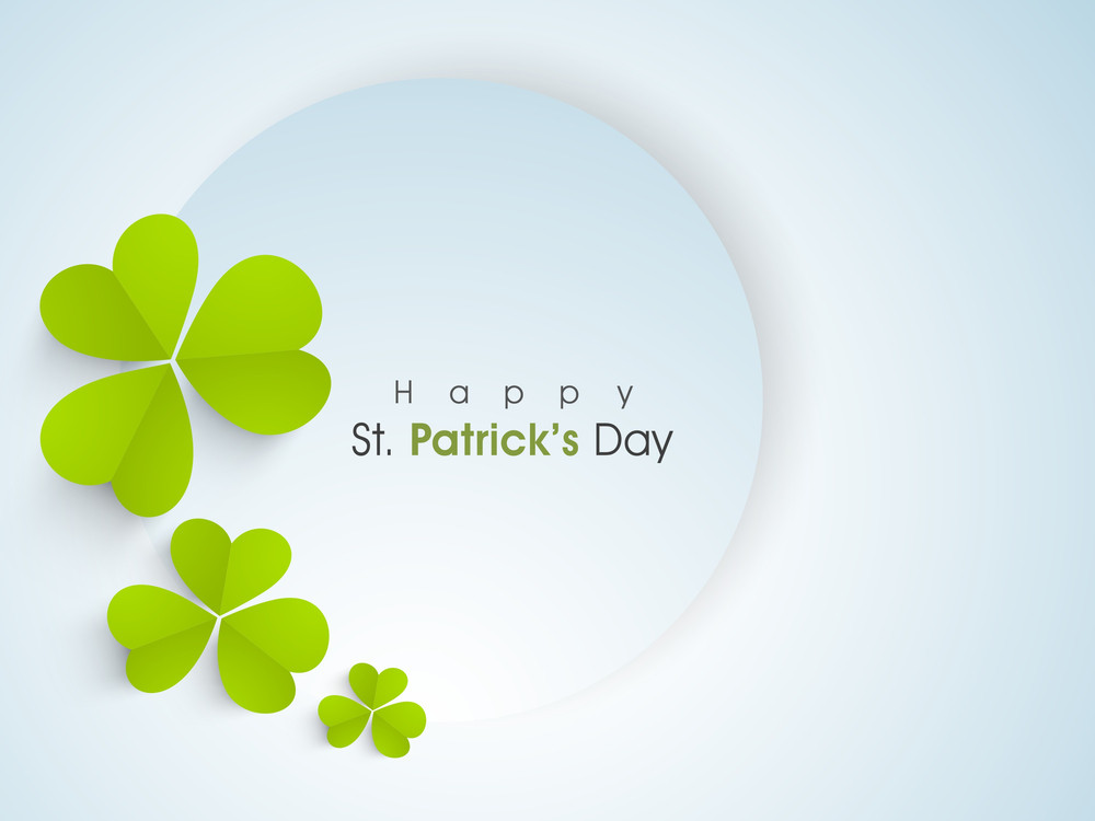 Happy St. Patrick's Day Background With Stylish Text On Grungy Green Background