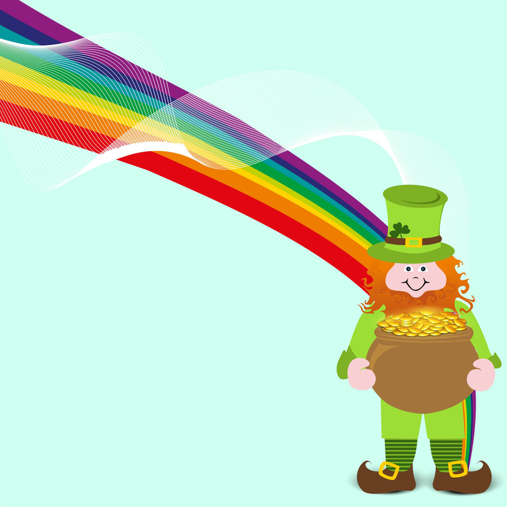 Happy St. Patricks Day Background With Traditional Mud Pot With Full Of Gold Coins On Blue Background