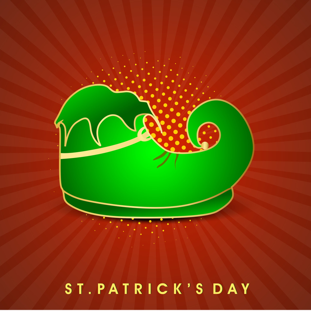 Happy St. Patricks Day Background With Traditional Mud Pot With Full Of Gold Coins On Rainbow Decorated Green Background.