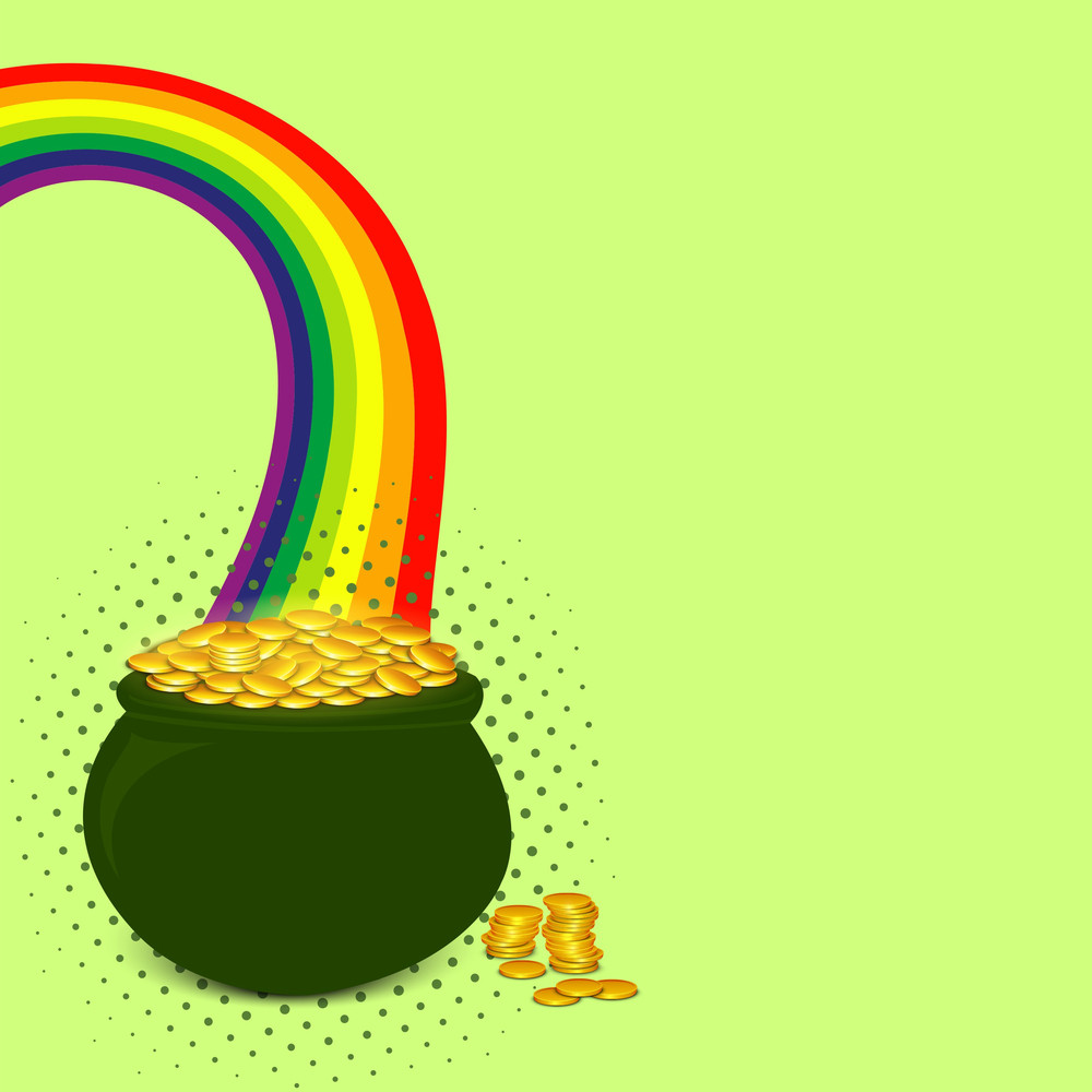 Happy St. Patricks Day Background With Traditional Mud Pot With Full Of Gold Coins And Clover Leaf On Brown Background.