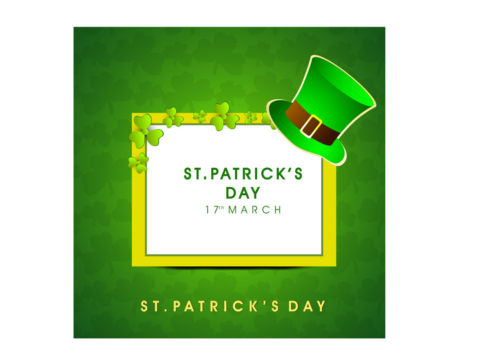 Happy St. Patricks Day Background With Traditional Mud Pot Wof Gold Coind And Sticker