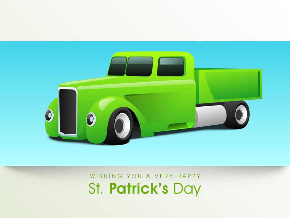 Happy St. Patrick's Day Background With Truck In Green Color On Blue And Grey Background.