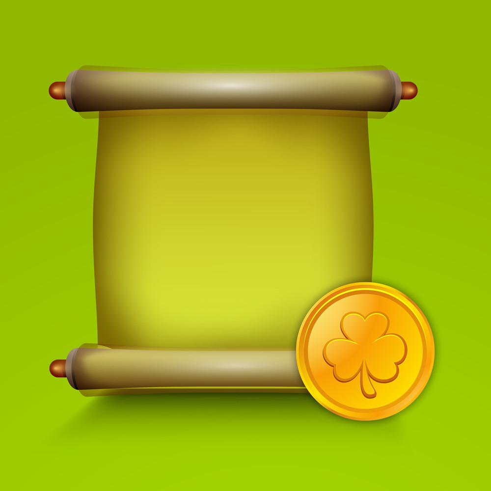 Happy St. Patricks Day Concept With Banner And Gold Coin On Shiny Green Background.