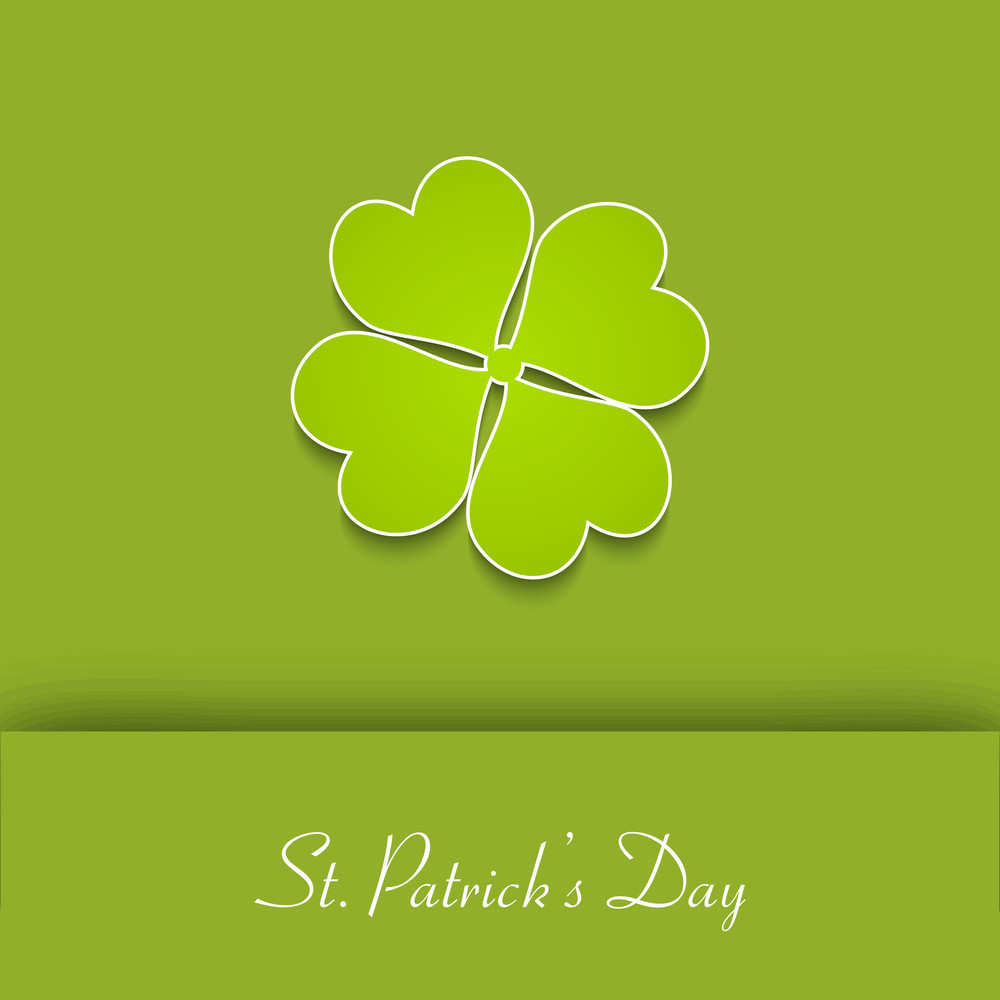 Happy St. Patrick's Day Concept With Beautiful Clover Leaf On Green Background.