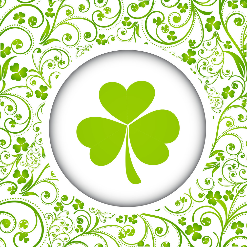 Happy St. Patrick's Day Concept With Beautiful Clover Leaf On Seamless Decorated Background.