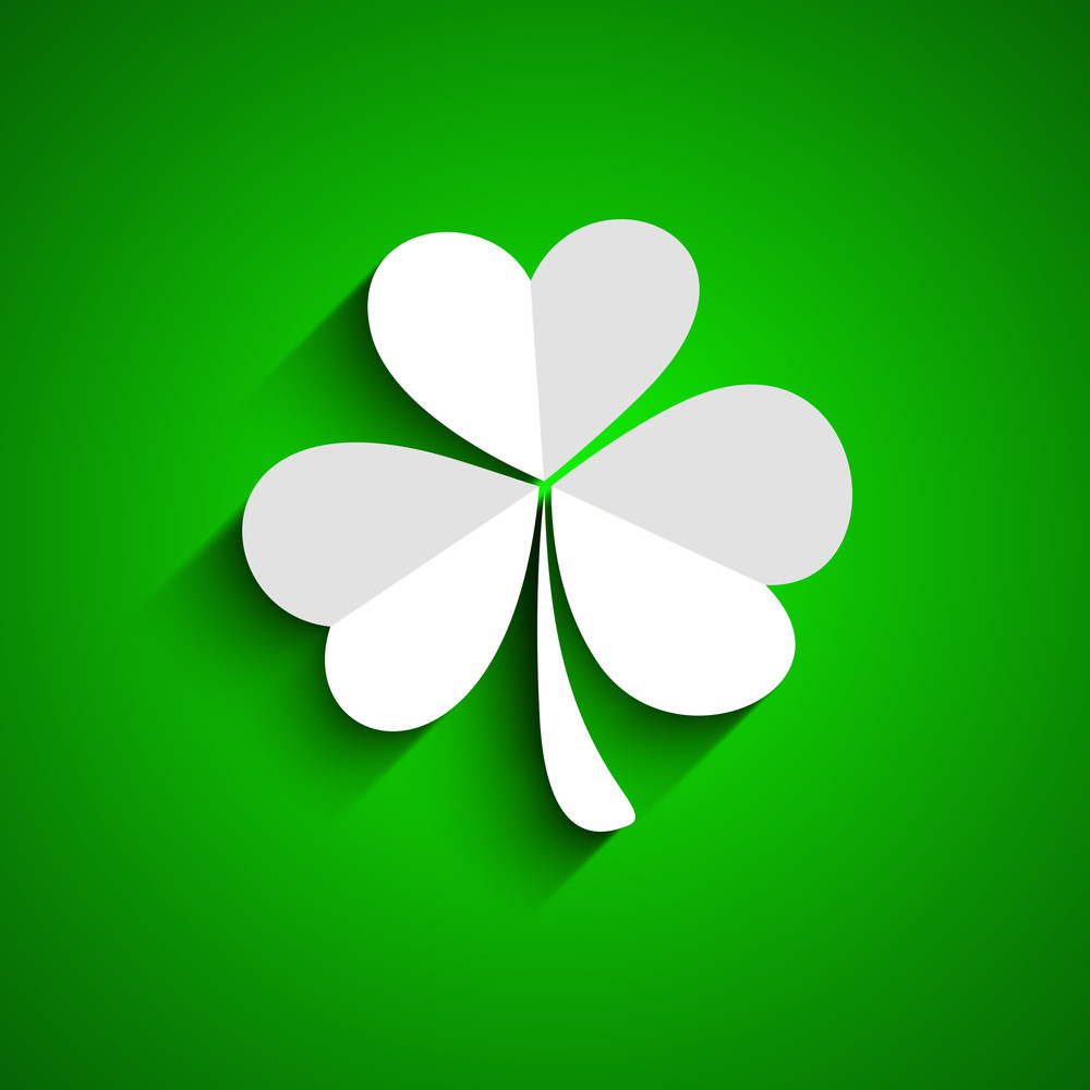 Happy St. Patricks Day Concept With Beautiful Clover Leave On Shiny Green Background.