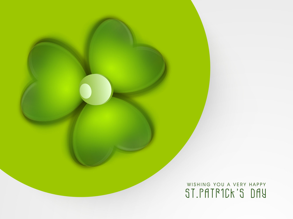 Happy St. Patrick's Day Concept With Beautiful Glossy Clover Leaf On Green And White Background.