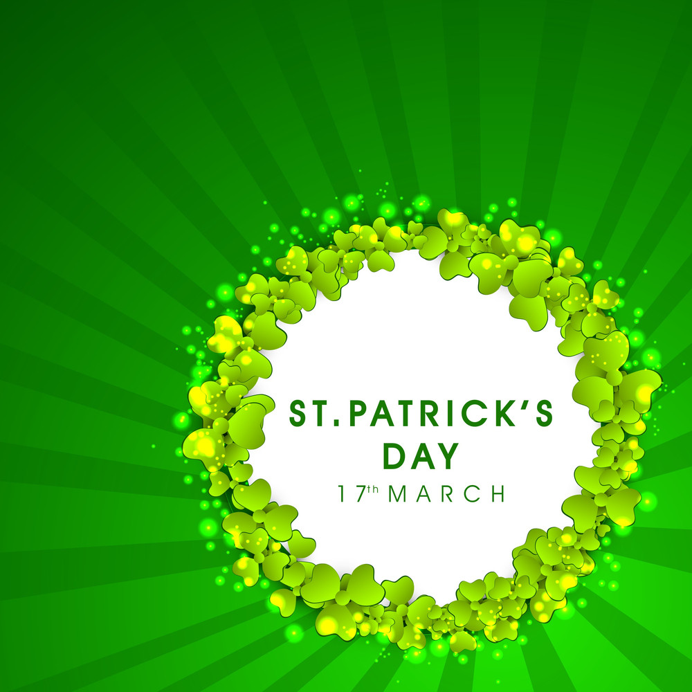Happy St. Patricks Day Concept With Beautiful Green Clover Leaves And Space For Your Text