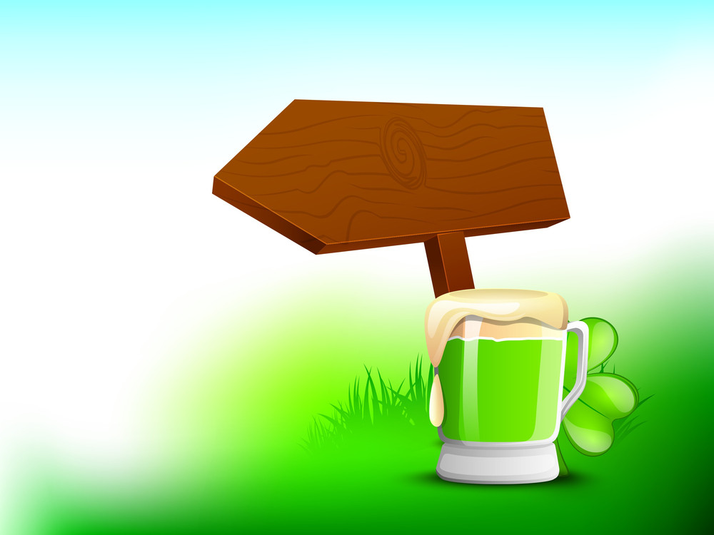 Happy St. Patrick's Day Concept With Beer Mug And Sign Board On Nature Background.