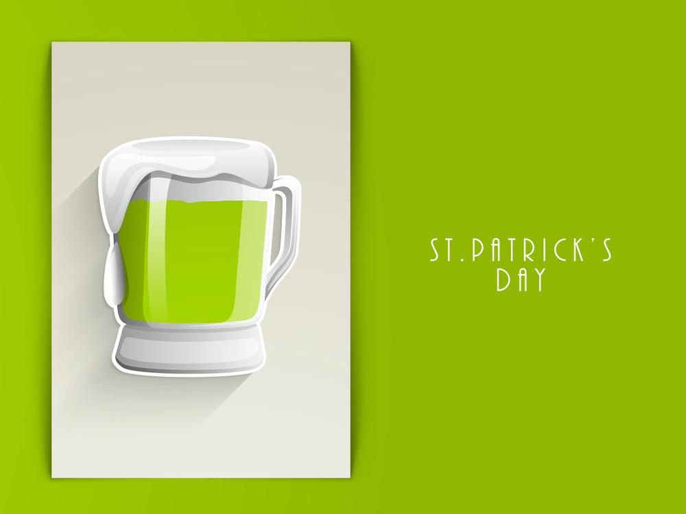 Happy St. Patricks Day Concept With Beer Mug On Grey And Green Background.