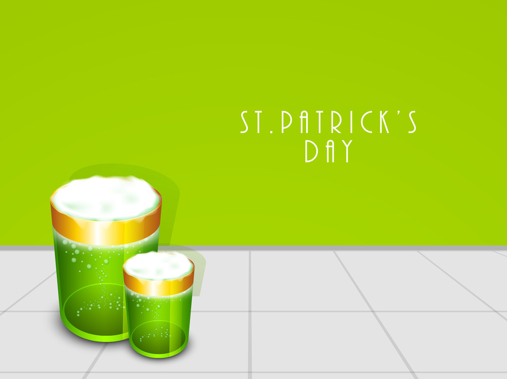 Happy St. Patrick's Day Concept With Beer Mugs On Green And Grey Background.