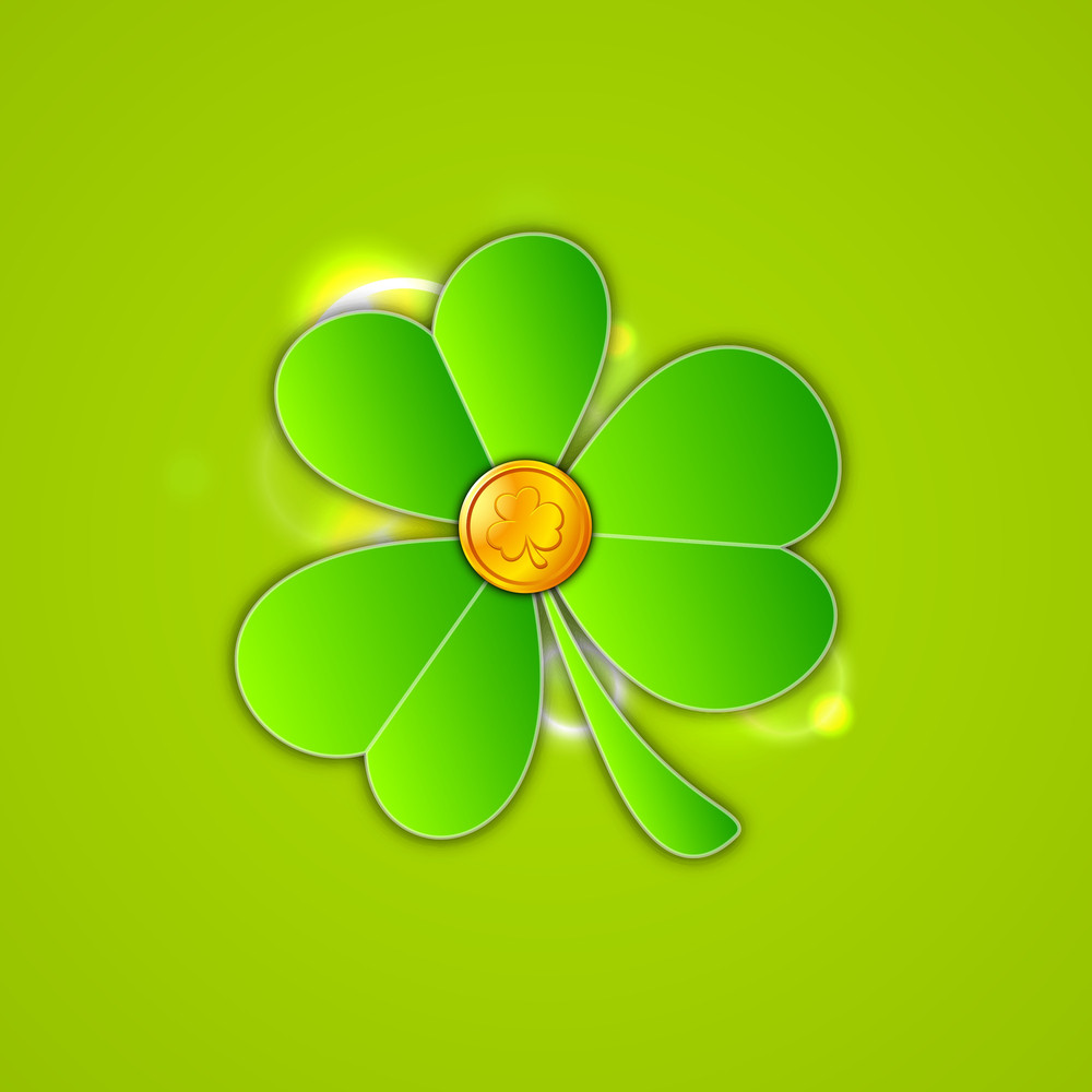 Happy St. Patrick's Day Concept With Clover Leaf And Gold Coin On Green Background.