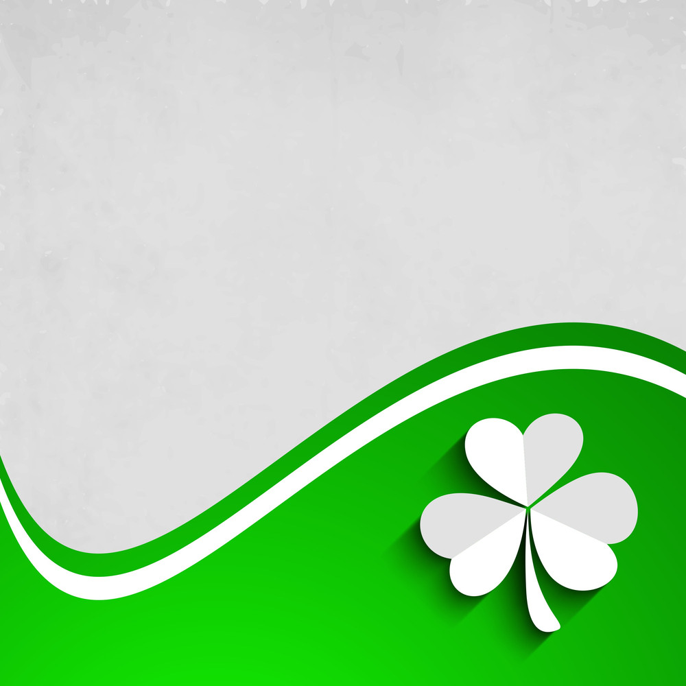 Happy St. Patrick's Day Concept With Clover Leaf On Wave Background.