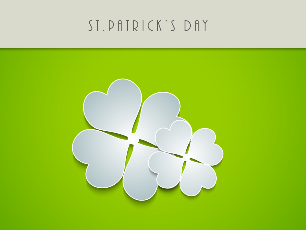 Happy St. Patricks Day Concept With Clover Leave On Shiny Green Background.