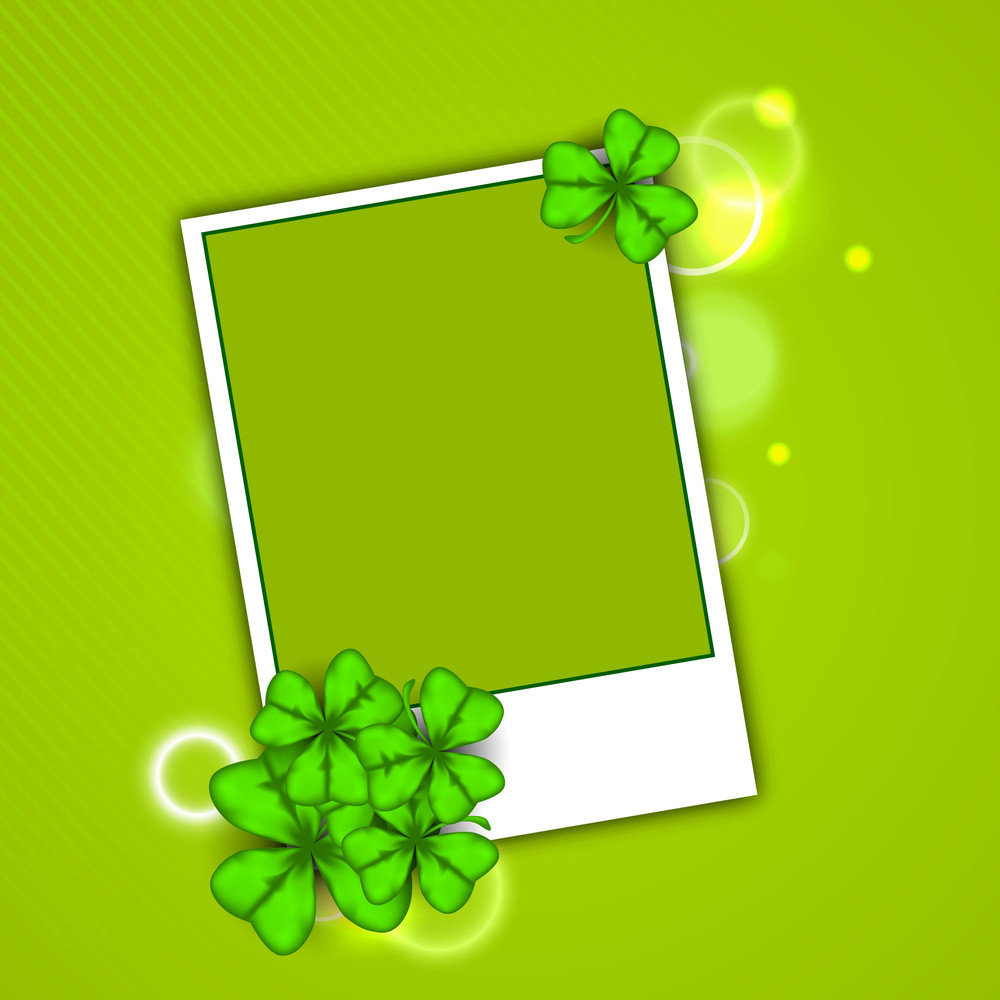 Happy St. Patricks Day Concept With Clover Leaves And Blank Space For Your Message.