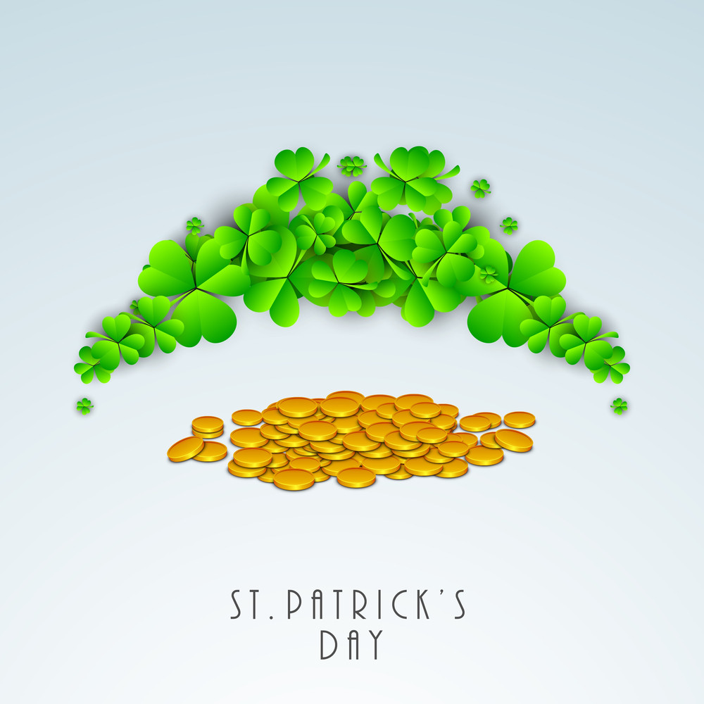 Happy St. Patricks Day Concept With Clover Leaves And Gold Coins On Blue Background.