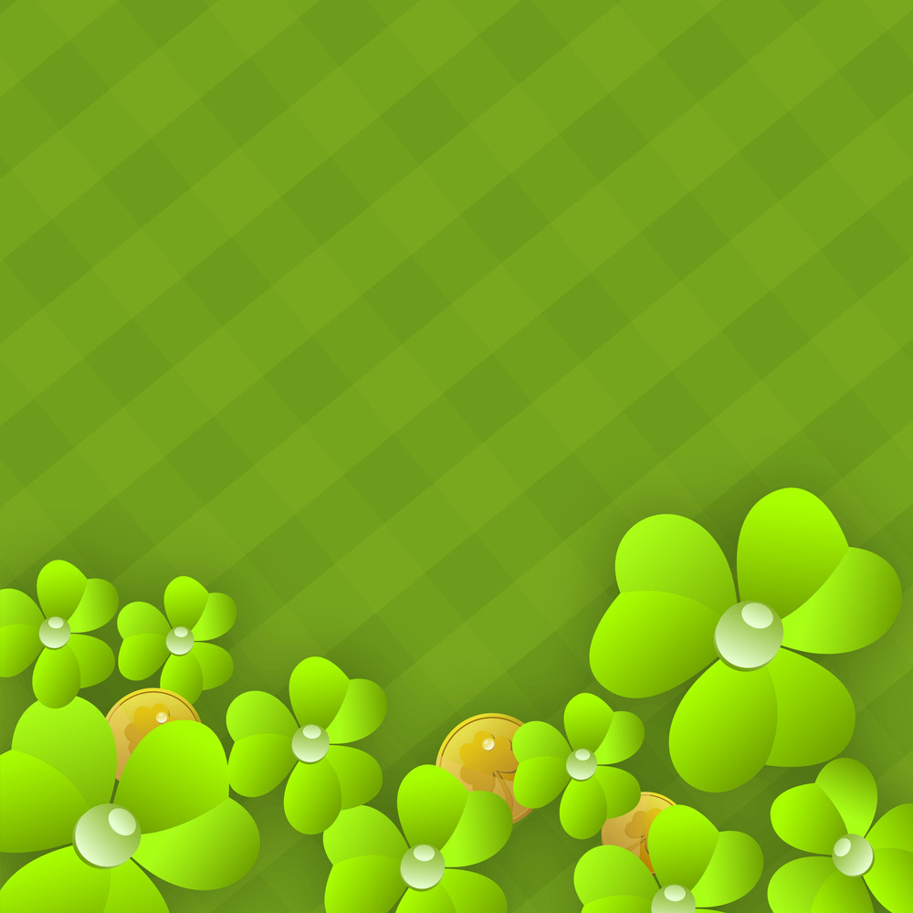 Happy St. Patricks Day Concept With Clover Leaves And Gold Coins On Green Abstract Background.
