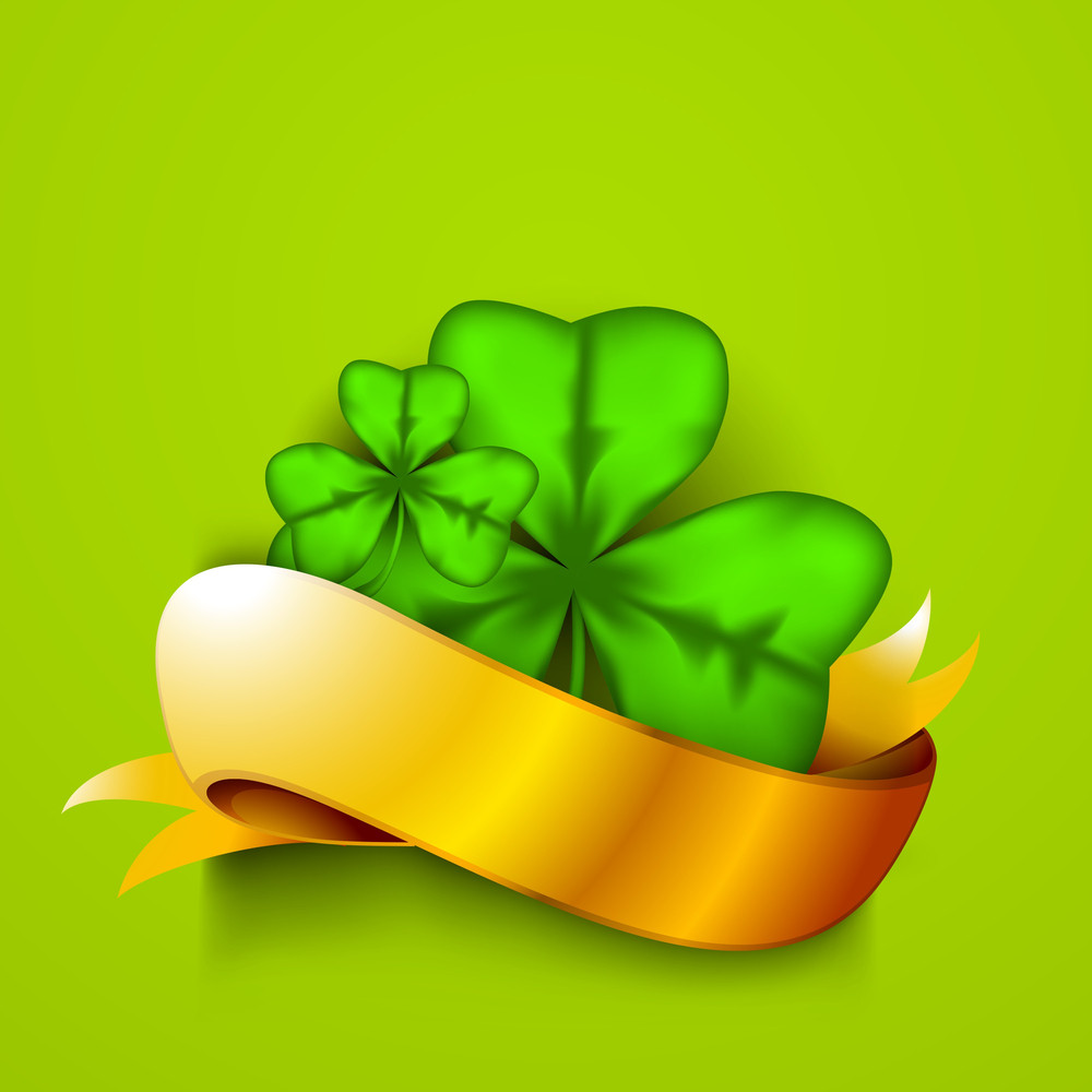 Happy St. Patricks Day Concept With Clover Leaves And Golden Ribbon On Shiny Green Background.
