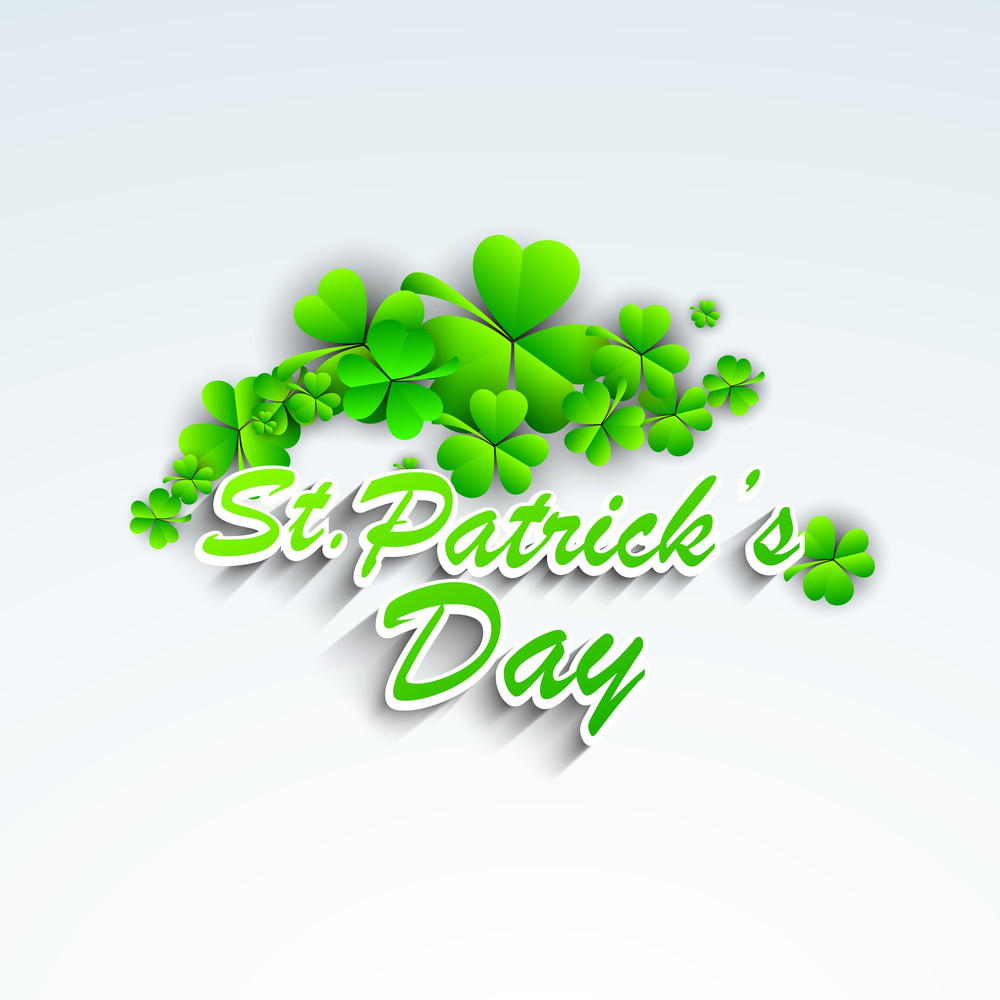 Happy St. Patricks Day Concept With Clover Leaves And Stylish Text On Blue Background.
